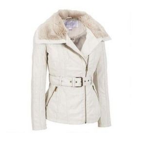 Jessica Simpson Ivory Faux Fur Coat Leather Large